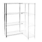 "8""d x 36""h Chrome Wire Shelving Add On Unit with Four Shelves"