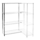 "8""d x 48""h Chrome Wire Shelving Add On Unit with Four Shelves"