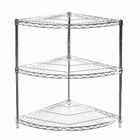 "SI 18"" x 18"" x 34"" Chrome Wire Shelving Radial Corner Unit with Three Shelves"