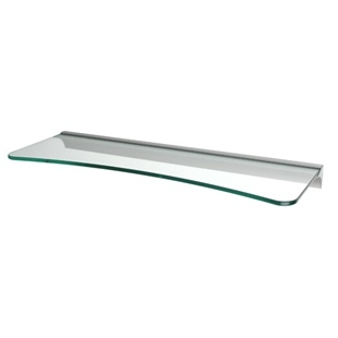 Concave Clear Glass Shelf with RAIL bracket