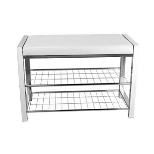 White Leatherette Entryway Bench w/ Chrome Frame