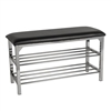 Black Leatherette Storage Bench w/ Chrome Frame