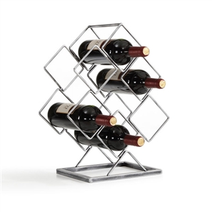 Antique Silver Electroplated 6 Bottle Wine Rack