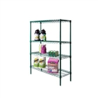 "18"" Green epoxy coated chrome wire 4 shelf unit"