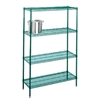 "21""d Green Epoxy Wire Shelving with 4 Shelves"