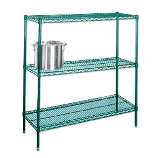 "21""d Green Epoxy Wire Shelving with 3 Shelves"