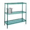 "24"" Green epoxy coated chrome wire 3 shelf unit"