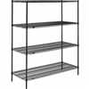 "Black Wire Shelving 24""d 4 Shelves - Nexel"