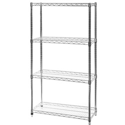 "14""d x 14""w Wire Shelving Unit with 4 Shelves"