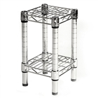 "8""d Chrome Wire Shelving Unit with 2 Shelves"
