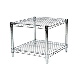 "18""d Chrome Wire Shelving Unit with 2 Shelves"