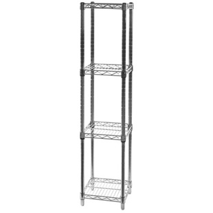 "12""d x 12""w Wire Shelving Unit with 4 Shelves"
