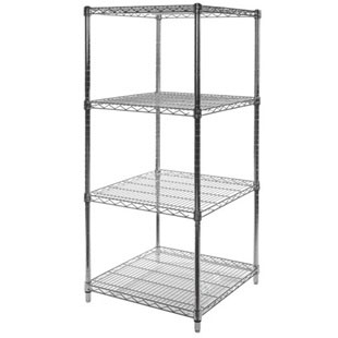 "24""d x 24""w Chrome Wire Shelving Unit with 4 Shelves"