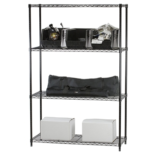 Black Wire Shelving with 4 Shelves