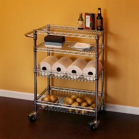 18 D Kitchen Cart With Basket Shelves