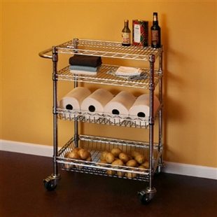 Wire Shelving Cart with Basket Shelves