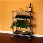 "14""d Kitchen Carts with 3 wire shelves and 1 wine rack"