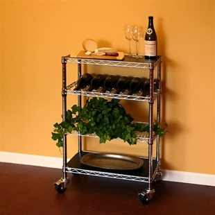 Kitchen Carts With 3 Wire Shelves And 1 Wine Rack Larger Photo Email A Friend