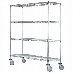 "SI 18""d x 42""w Chrome Wire Mobile Unit"