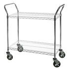 "18""d Utility Cart with 2 tiers of Wire Shelves"