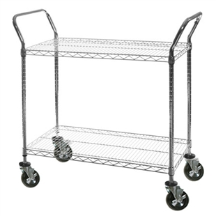 "24""w Utility Carts with 2-Shelves, mobile wire racks"