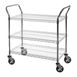 "24""d Wire Shelving Utility Carts- 3 racks"