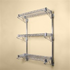 "8""d 3 Shelf Chrome Wire Wall Mounted Shelf Kits"