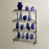 "12""d 4 Shelf Chrome Wire Wall Mounted shelving Kit from The Shelving Store"