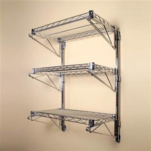 "3 Shelf Chrome Wire Wall Mounted Kit-14""d"