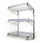 "3 Shelf Chrome Wire Wall Mounted Kit-18""d"