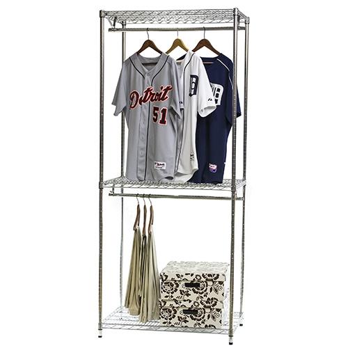 Wire Closet Shelving 3 Shelf Double Hang 24 D X 84 H The