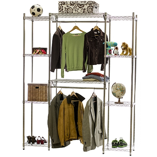 Double Hang Closet Wire Shelving System 18 D X 84 H The