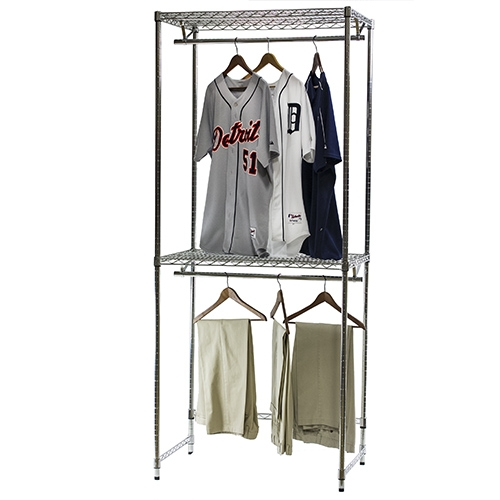 Double Hang Wire Closet Shelving 18 D X 84 H The