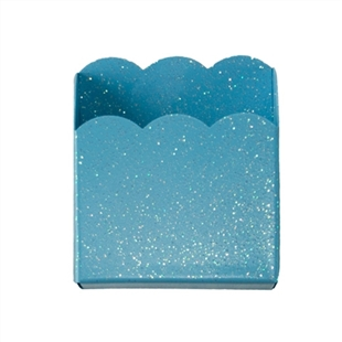 Turquoise Blue Scalloped Metal Pencil/Cell Phone Bin